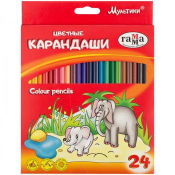Карандаши цветные, Мультики, 24 цвета Га..