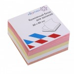 Бумага для заметок 8*8*3,5 куб 4цв Attom..