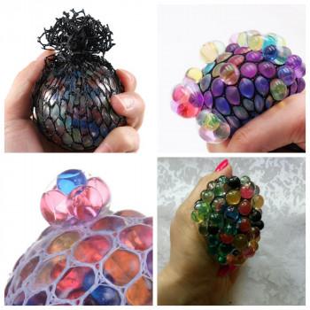 Мяч лизун, антистресс в сетке разноцветн..
