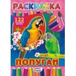 Раскраска с наклейками (А4) Попугаи*..