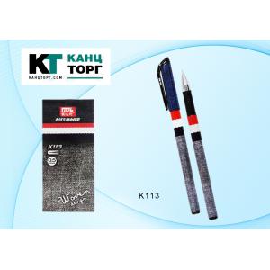 """Ручка гелевая черная """"Woven design""""; пластиковый корпус с рисунком-""""Джинса"""" (12)"""