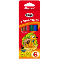 """Фломастеры """"Мультики"""", 6 цветов, картонная коробка Гамма (96)"""