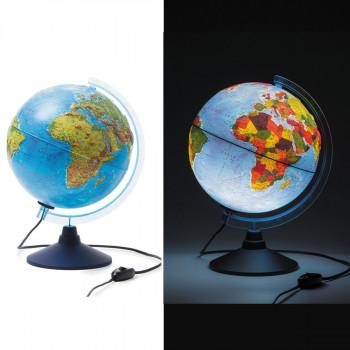 Глобус физико-политический рельефный, d=250мм, с п..