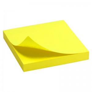 Блок бумаги с клейким слоем 75x75 мм, 100 л., ярко-желт AXENT