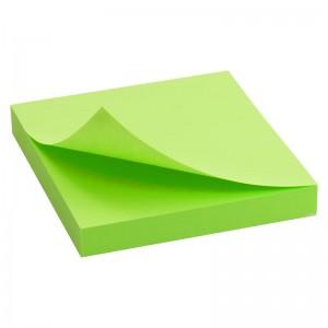 Блок бумаги с клейким слоем 75x75 мм, 100 л., ярко-зеленый AXENT