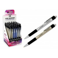 Ручка автоматическая на масляной основе, с резиновым держателем, металлизированный корпус 3 цвета