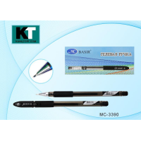 Ручка гелевая черная 0,7 мм. , цветной колпачок, резиновый держатель (BASIR) (12/1152)