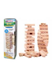 Башня 54 детали деревянная с цифрами и игральными костями