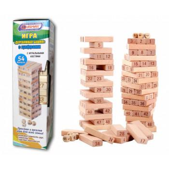 Башня 54 детали деревянная с цифрами и и..