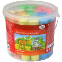 """Мелки для асфальта цветные """"Мультики"""", круглые, 20 штук, пластиковое ведро Гамма"""