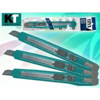 Нож канцелярский 9 мм, цветной пластиковый держатель, ручной фиксатор длины лезвия (BASIR) (24)
