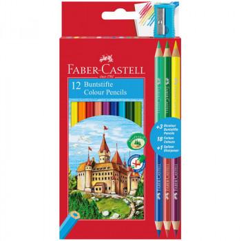 Карандаши цветные Faber-Castell, 12цв.+4, заточен...