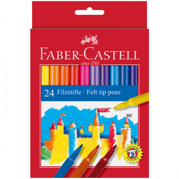 Фломастеры Faber-Castell, 24цв., смываемые, картон..