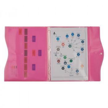 Папка на кнопке, 5 файлов, A4, розовая A..