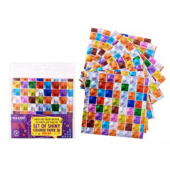 Набор блестящей цветной 3D бумаги для по..
