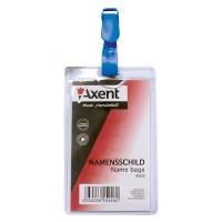Бейдж с клипом вертикальный, прозрачный 4505 Axent (12)