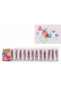 Блестки-звездочки перламутровые,разноцветные для  декоративных работ, в тубах. ASMAR (12)