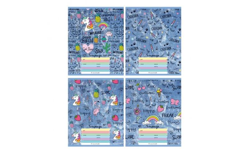 """Тетрадь школьная А5 скоба 12л. клетка """"Secrets girls"""" выборочные блёстки (ассорти) (20/160)"""