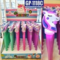 """Шариковая ручка детская+фонарик; """"ЕДИНОРОГ""""; цветной  корпус /ассорти/,  прорезиненный клип фонарик-"""