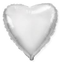 """Шар Ф 18"""" Сердце Металлик серебряный 45 см"""