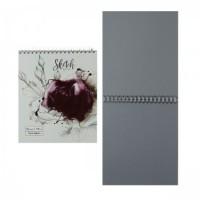 Блокнот для эскизов/скетчбук А5 (170*195) 30л 120г/м2 обл мягк карт дв спир Роза на белом метал выб