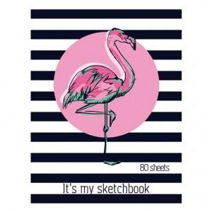 """Скетчбук А5 переплёт твёрдый 80л. """"Flamingo sketch"""" ламинация матовая выборочный лак розовый тониров"""