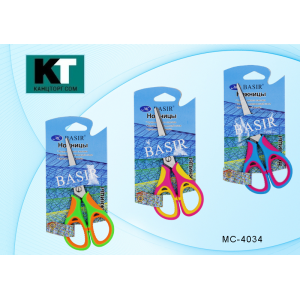 Ножницы детские, 13 см с пластиковыми ручками с резиновыми вставками (12)