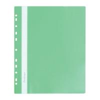 Папка-скоросшиватель пластик. перф. А4, 180мкм, зеленая (BERLINGO) (Россия) (10)