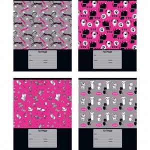 """Тетрадь школьная А5 скоба 12л. клетка """"Dog&cat pattern"""" (ассорти)(20/240)"""