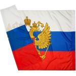 Флаг России с гербом  90*145  шелк ASMAR..