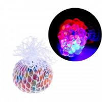 Мяч лизун, антистресс светящийся в сетке (12)
