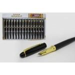Ручка перьевая металлическая черная с зо..