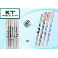 Ручка со стираемыми чернилами гелевая: цветной матовый корпус /ассорти/ с рисунком-кот, гранёный кол