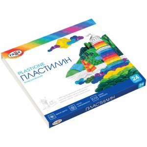 "Пластилин Гамма ""Классический"", 24 цвета, 480г, со стеком, картон (10)"