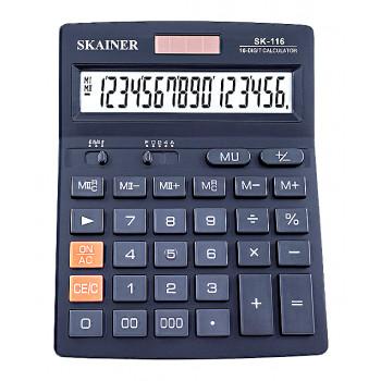 Калькулятор настольный 16-разрядный, большой, чёрн..