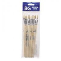 Кисть художественная щетина №6, плоская, пакет с европодвесом BG (10)