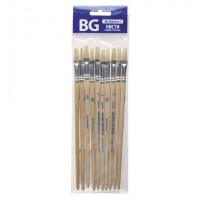Кисть художественная щетина №8, плоская, пакет с европодвесом BG (10)