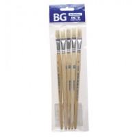 Кисть художественная щетина №10, плоская, пакет с европодвесом BG (5)
