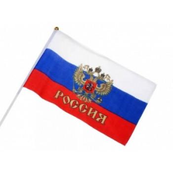 Флаг 30*45 ((РОССИЯ C ГЕРБОМ) (12)..
