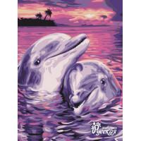"Набор для творчества ""Рисование по номерам"". KA005 Дельфины в свете заката 30 x 40"