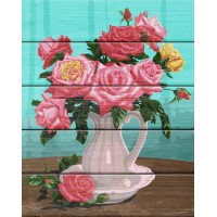 """Рисование по номерам по дереву """"Flamingo"""" 40х50 FLA011 """"Розы в белой вазе"""""""
