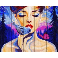 "Рисование по номерам по дереву ""Flamingo"" 40х50 FLA013 ""Девушка и птица"""