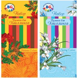 """Бумага для квиллинга """"Весенние и осенние цвета"""", 5 цветов, 50 полос, ассорти (BG) (40)"""