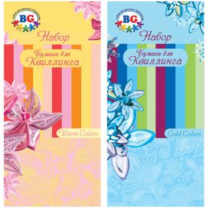 """Бумага для квиллинга """"Тёплые и холодные цвета"""", 5 цветов, 50 полос, ассорти (BG) (40)"""