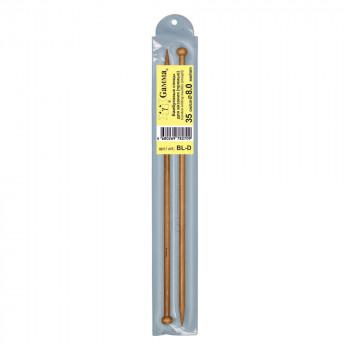 Спицы  GAMMA прямые BL-D бамбук  d 8.0 мм 35 см, к..