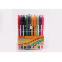 Набор шариковых ручек ( трехгранный   цветной  корпус 10 цвветов)