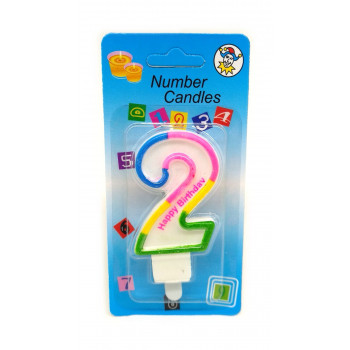 СВЕЧА цифра 2 с блеском 3-х цветная ..