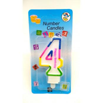 СВЕЧА цифра 4 с блеском 3-х цветная ..