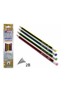Карандаши чернографитные 2В трехгранные с ластиком