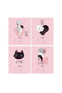 """Тетрадь школьная А5 скоба 24л. клетка """"Little love"""" выборочный лак (ассорти) (25/150)"""